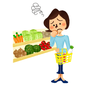 Worried woman shopping vegetables at supermarket