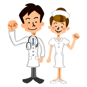 Doctor and nurse smiling happily