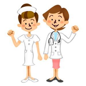 Female doctor and nurse smiling happily