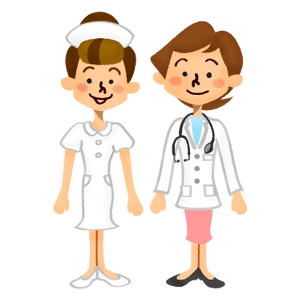 Female doctor and nurse smiling