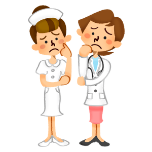 Worried female doctor and nurse