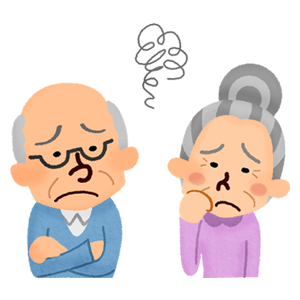 Annoyed elderly couple