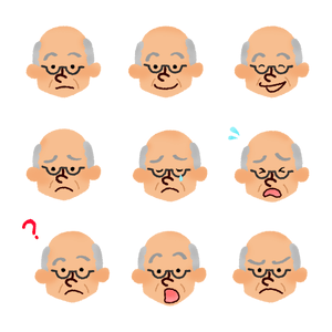 Set of elderly man's faces 002