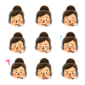 Set of call center operator woman's faces