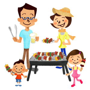 Family having barbecue