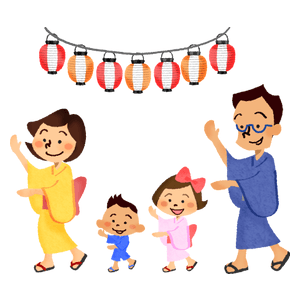 Family dancing at summer festival (bon odori)
