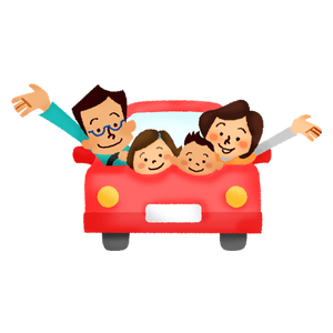 Family driving in car (front view)