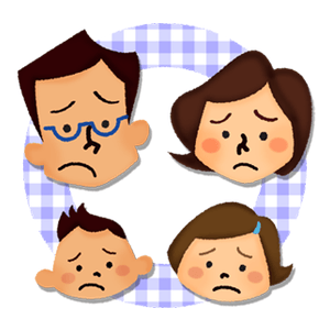 Family with unhappy faces