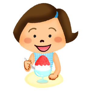 Girl eating shave ice
