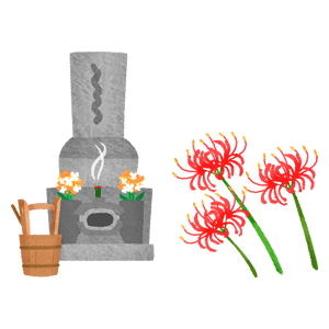 Visiting grave (grave and red spider lily)