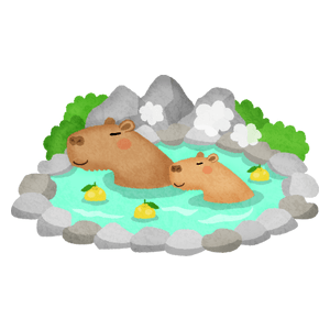 Capybaras in hot spring