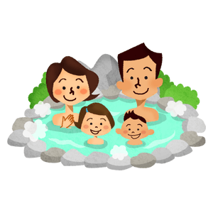 Family in hot spring