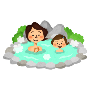 Mother and daughter in hot spring