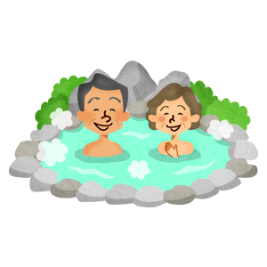Senior couple in hot spring