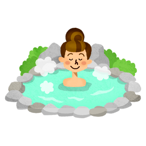Woman in hot spring