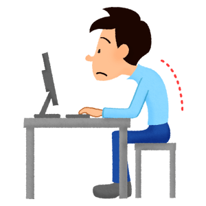 Man with bad posture while using computer