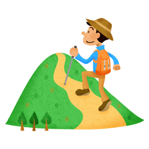 Man hiking in mountain