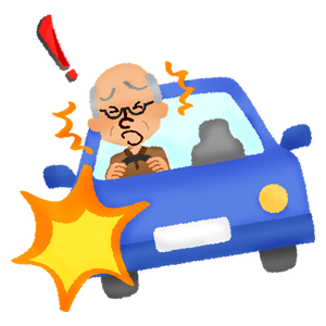 Elderly man about to cause accident