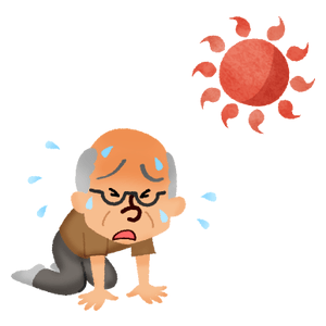 Elderly man with heatstroke