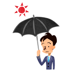 Man with UV umbrella
