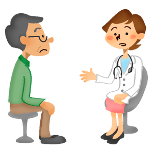 Senior man receiving a medical consultation with female doctor