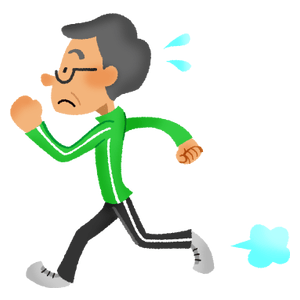 Senior man doing running exercise