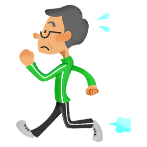 Senior man doing walking exercise