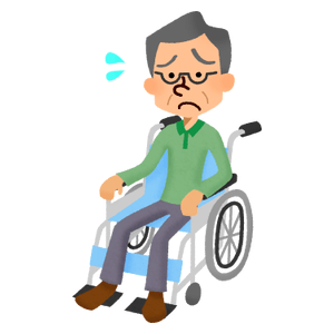 Senior man in wheelchair having problems