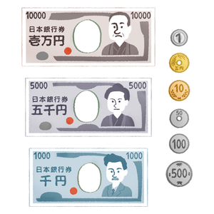 Japanese yen: bills and coins