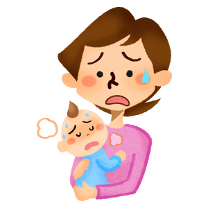 Mother holding her sick baby