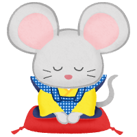 mouse in kimono bowing (Fukusuke doll)