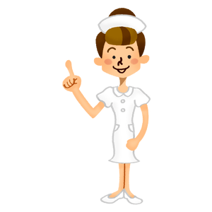 Nurse pointing upward