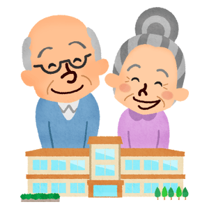 Nursing home and smiling elderly man and woman