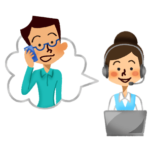 Call center operator talking with man client