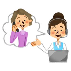 Call center operator talking with senior woman