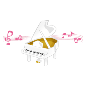 White piano with music notes