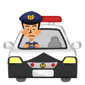 Police officer driving a police car
