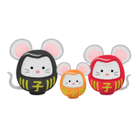 Rat daruma couple and child (New Year's illustration)