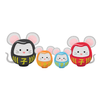 Rat daruma couple and children (New Year's illustration)