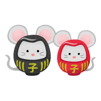 rat daruma couple (New Year's illustration)