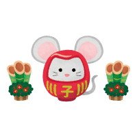 rat daruma and kadomatsu (New Year's illustration)