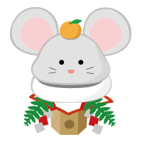rat kagami mochi (New Year's illustration) sharp