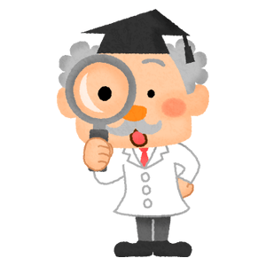 Scientist character with magnifying glass