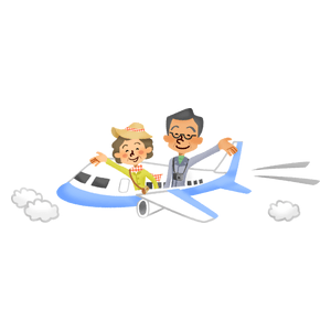 Senior couple traveling by airplane