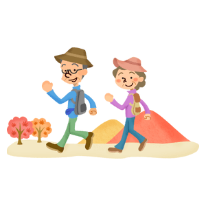 Senior couple hiking (autumn)