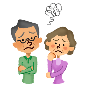 Worried senior couple