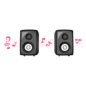 Speakers with music notes
