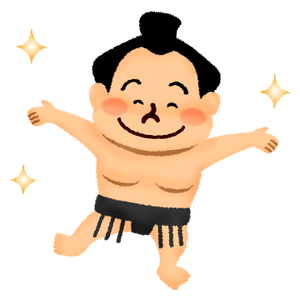 Happy sumo wrestler