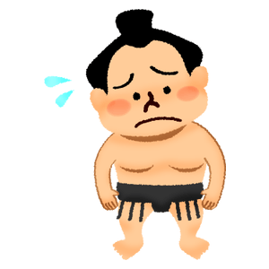 Worried sumo wrestler
