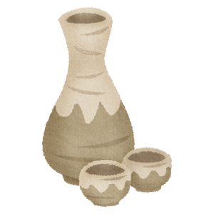 Tokkuri and ochoko (Sake bottle and cups)
